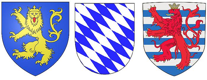 Гербы домов Шварцбург, Виттельсбах и Люксембург