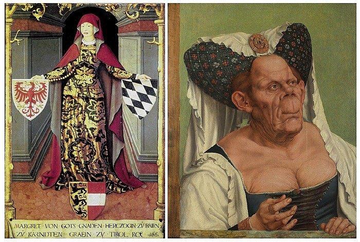 Два портрета Маргарит Маульташ, оба нарисованы в XVI в.
