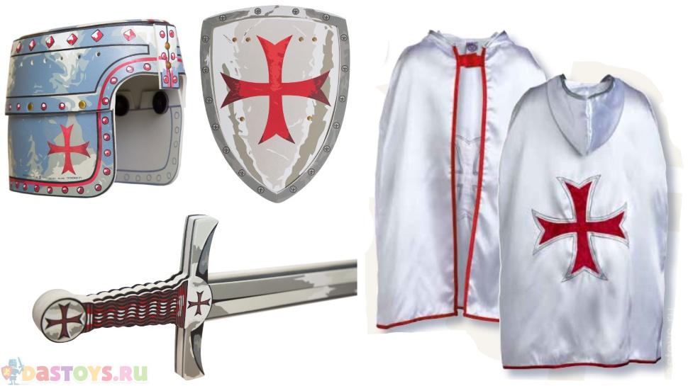 серебряный щит с мальтийским крестом