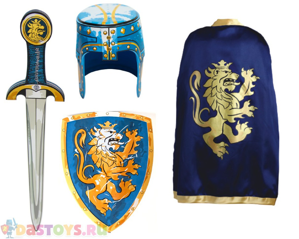 синий щит с коронованным золотым львом