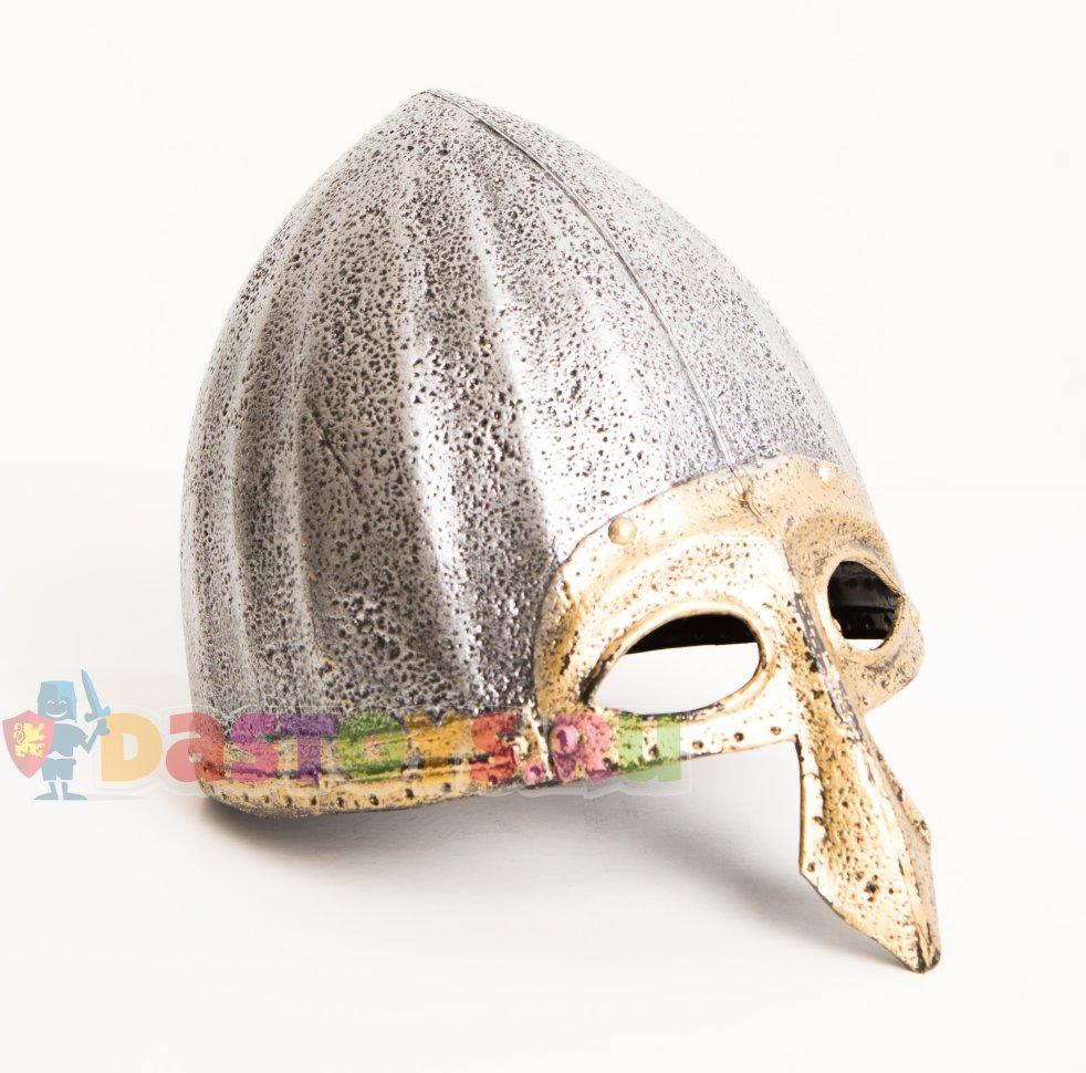 Шлем богатыря детский с золотистой полумаской